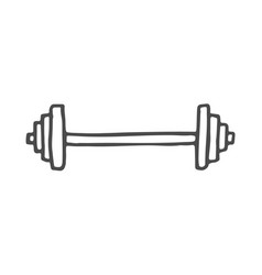 freehand drawn cartoon barbell doodle rod vector image