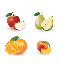 fresh fruits apple pear orange and peach vector image