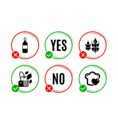 Gluten free mint bag and wine bottle icons set vector