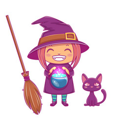 halloween little witch girl kid with smiling face vector image