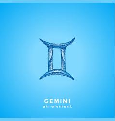hand drawn gemini zodiac sign vector image