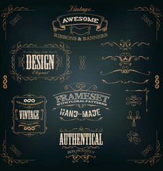 hand drawn vintage banners and ribbons vector image