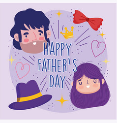 happy fathers day greeting card dad daughter hat vector image