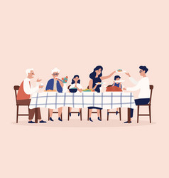 happy people sitting at table eating holiday vector image
