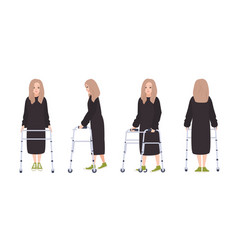 Happy young woman with walking frame or walker vector