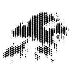 Hexagon halftone hong kong map vector