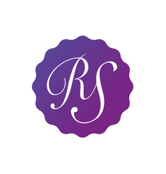 initial letter rs in the purple gradient badge vector image