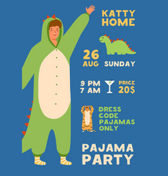 invitation poster for pajama home party vertical vector image