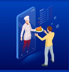 Isometric online cooking classes concept online vector