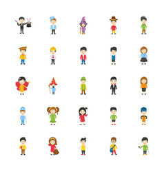 kids cartoon characters icons vector image