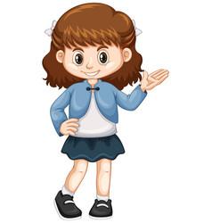 Little girl in blue jacket vector