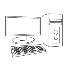 Locked computer icon in outline style isolated on vector image