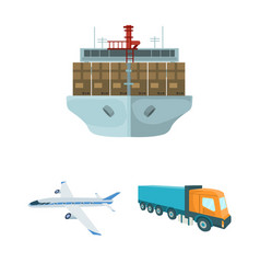Logistics and delivery cartoon icons in set vector