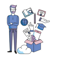 man with education items vector image