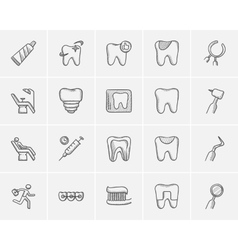 Medicine sketch icon set vector image