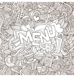 Menu cartoon hand lettering and doodles elements vector