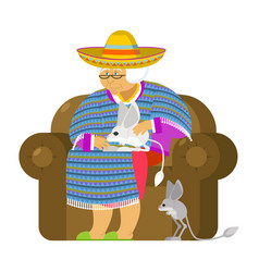 Mexican grandmother and jerboa a pet old woman vector