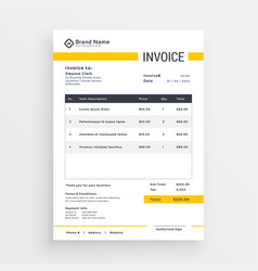 Minimal yellow invoice template design vector