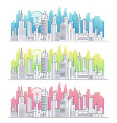 modern line art modern big city cityscape vector image