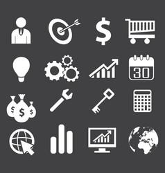 monochrome business concept icons set vector image