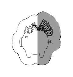 Monochrome contour sticker of piggy bank with vector