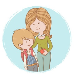 Mother and child pupil with backpack vector image