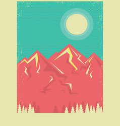 Mountains landscape poster background for text vector
