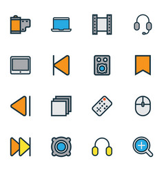 Multimedia icons colored line set with amplifier vector