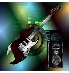 musical background with a rock guitar and a vector image