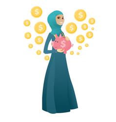Muslim business woman holding a piggy bank vector