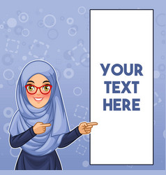 Muslim woman pointing finger to the left side vector