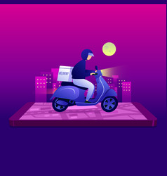 Night food delivery service scooter on mobile vector