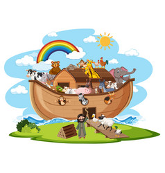 Noahs ark with animals isolated on white vector