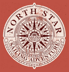 north star sailing adventure with nautical compass vector image