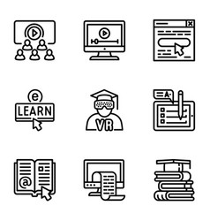 online education icon set outline style vector image