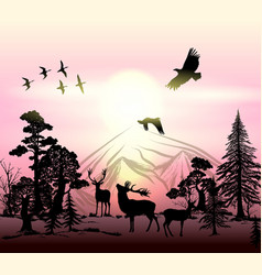 outdoor background with silhouettes of animals vector image