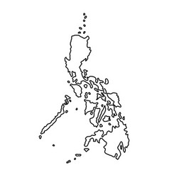 Philippines map of black contour curves on white vector