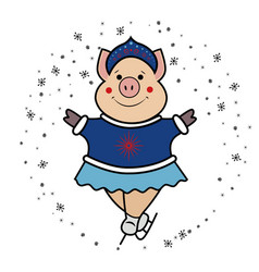pig snow maiden- dancing on skates symbol 2019 vector image