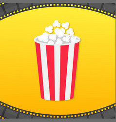 popcorn round box film strip rounded frame movie vector image