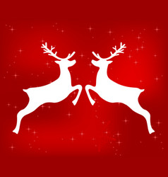 reindeer on a red glittering christmas background vector image