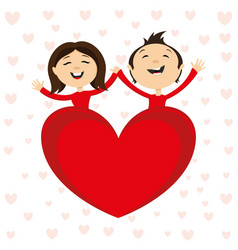romantic couple and red heart vector image