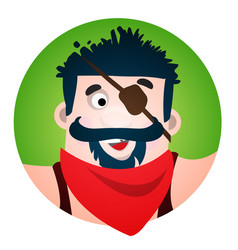 round sticker with the image of a fun pirate with vector image