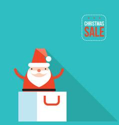 santa claus jumping out of shopping bag christmas vector image