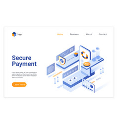 secure payment isometric landing page vector image