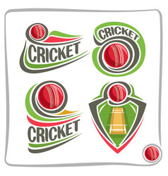 Set icons for cricket game vector