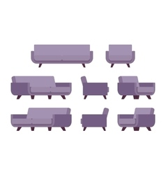 Set of retro lilac sofa and armchair vector