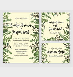 Set of wedding invitation greeting card save vector