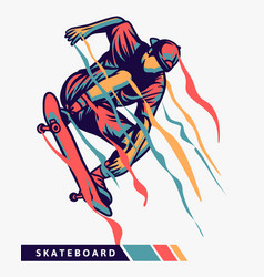 Skateboarder colorful artwork jumping with motion vector