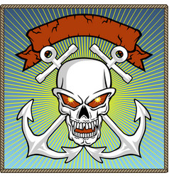 Skull with two anchors and banner vector