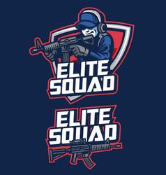 Soldier mascot aiming assault rifle vector